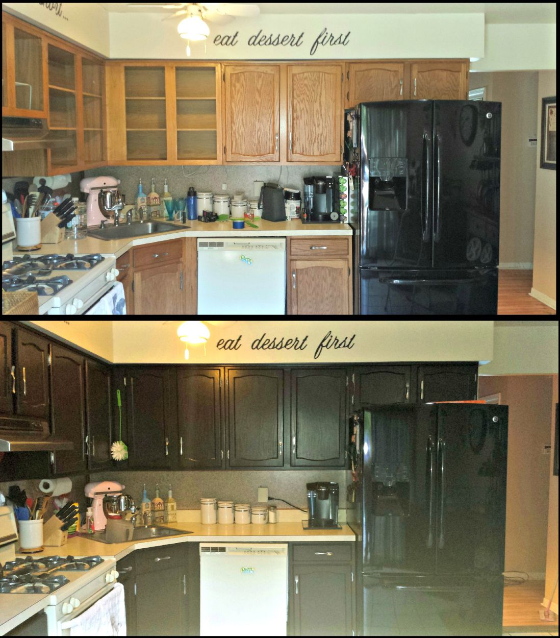 Painting Old Kitchen Cabinets Before And After Rustoleum Sweet Erindipity